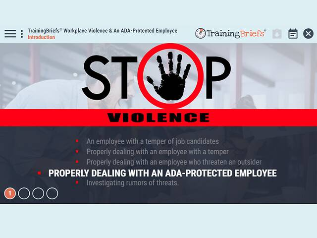 TrainingBriefs® Workplace Violence & An ADA-Protected Employee