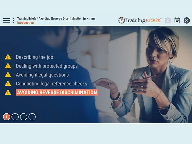 TrainingBriefs® Avoiding Reverse Discrimination in Hiring
