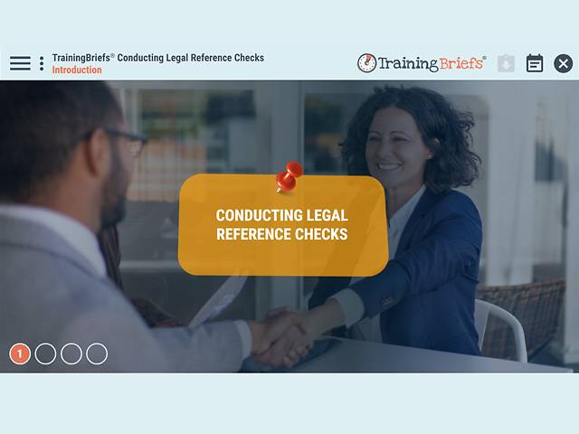 TrainingBriefs® Conducting Legal Reference Checks