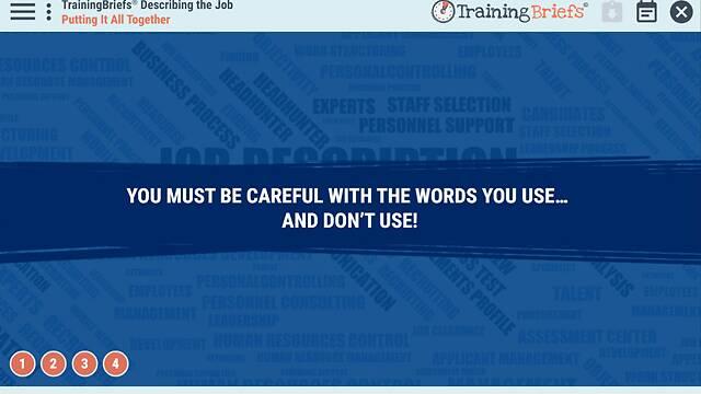 TrainingBriefs® Describing the Job